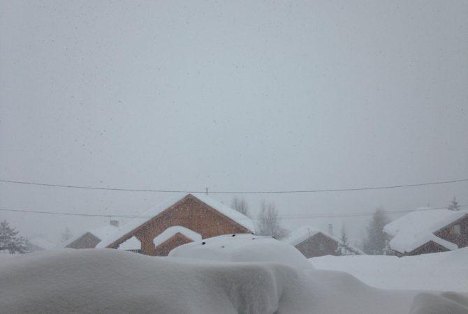 Vue de l'appartement sous la neige